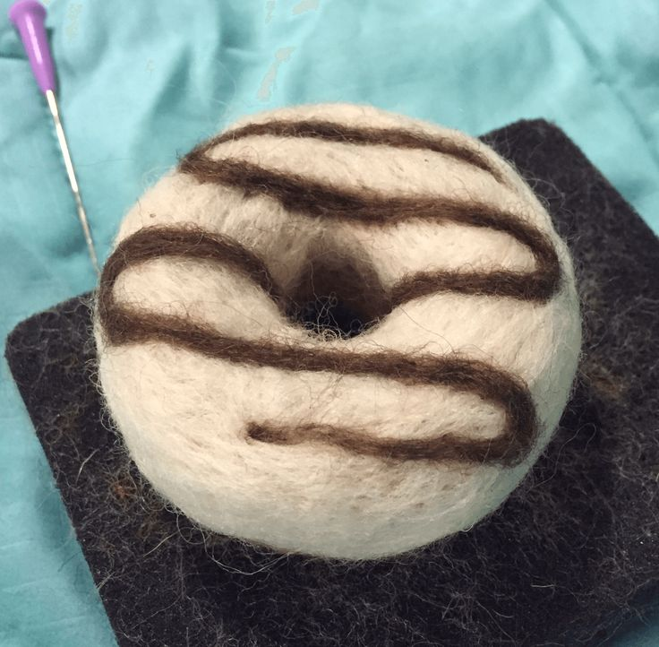 Needle felted donut picture tutorial for beginners