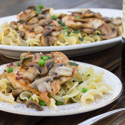 Chicken Marsala- try serving over blended whole wheat pasta or farro as healthy alternatives to egg noodles
