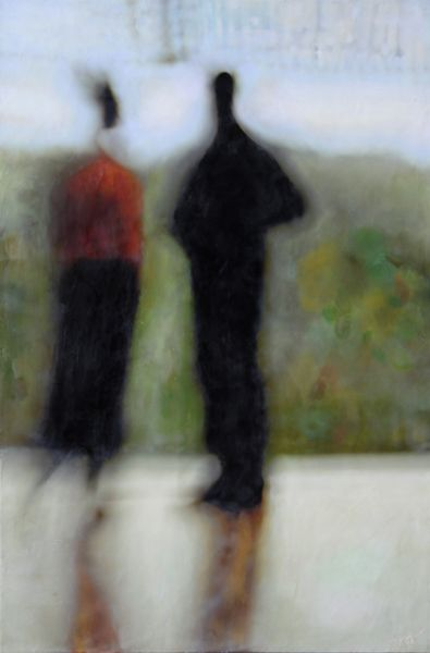 Maite Benito Agahnia, photo encaustic, 30 x 20 inches I like the fuzzy people, I could do this with encaustic & transfers & maybe thick paper