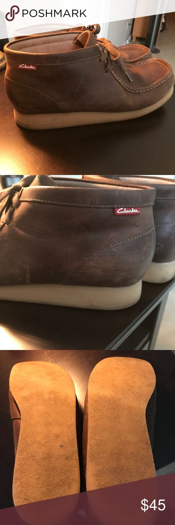 Men's Clarks Wallabee, Brown, 12 Good condition Clarks boot. Very comfortable, soles are in great shape! Size 12, brown leather. Clarks Shoes Chukka Boots