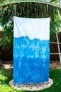 MAYDE x LEONARD & CO. SHIBORI TOWEL - GLACIER 100% Cotton towel Indigo dye on white