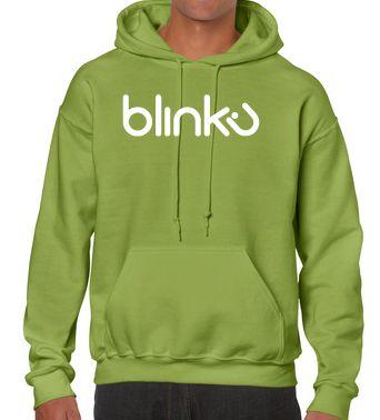 Sudadera con capucha para hombre : Color kiwi, diseño Blinku 4 serigrafiado con tinta color White