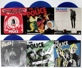 "The famous ""Six Pack"", The Police, six '7 singles in blue vinyl (1980) - The Six Pack was an idea of manager Miles Copeland III. to bridge the time before the release of ""Zenyatta Mondatta"". It contains their first 5 singles (leaving out ""Fallout""). The only new release was the '7 with a-side ""The Bed's Too Big Without You (Mono)"" and b-side ""Truth Hits Everybody (live)"", which was later released on the CD2 ""LIVE"". All sleeves also contain a printed foto and lyrics each."
