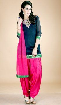 Black Magenta Full Patiala Salwar Replica Suit with Chiffon Dupatta RS020