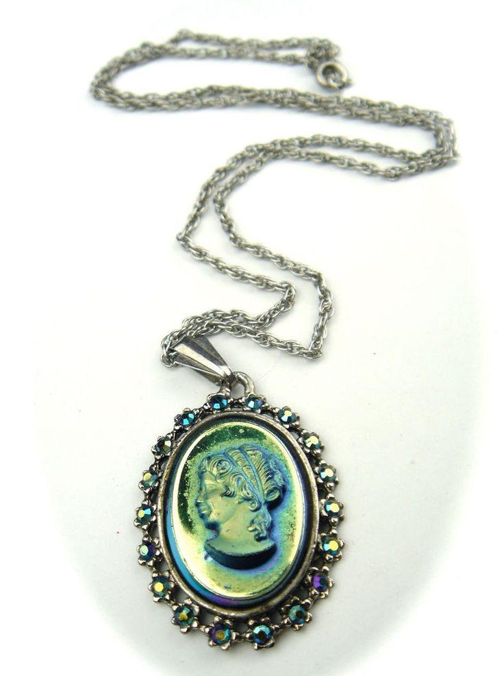 Antique Vintage Art Deco Czech Glass Necklace Pendant Silver Tone Cameo Lady #Pendant