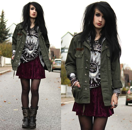 Topshop Parka, H&M Plaid Shirt, Truly Madly Deeply Tee, Urban Outfitters Velvet Skirt, Ash Boots