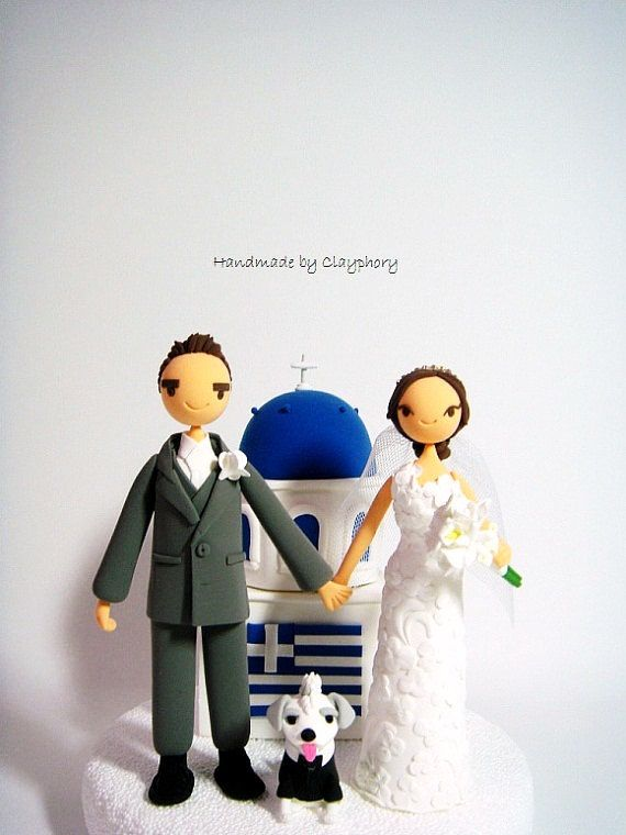Greek couple with #Santorini church customized wedding