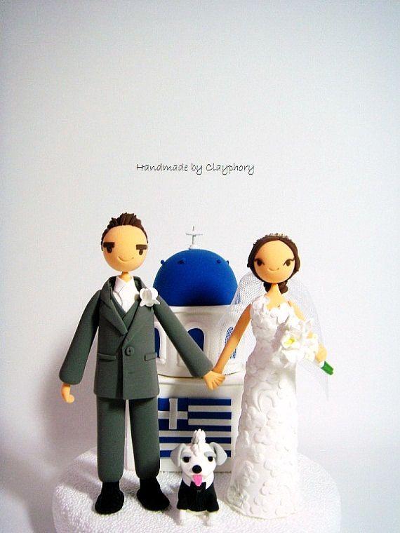Greek couple with #Santorini church customized wedding