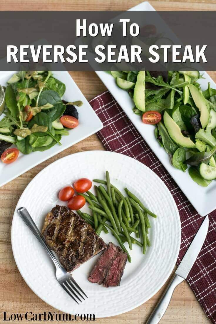 Have you tried the reverse sear steak oven to cast iron cooking method? It results in a perfectly cooked medium rare ribeye steak every time. | LowCarbYum.com