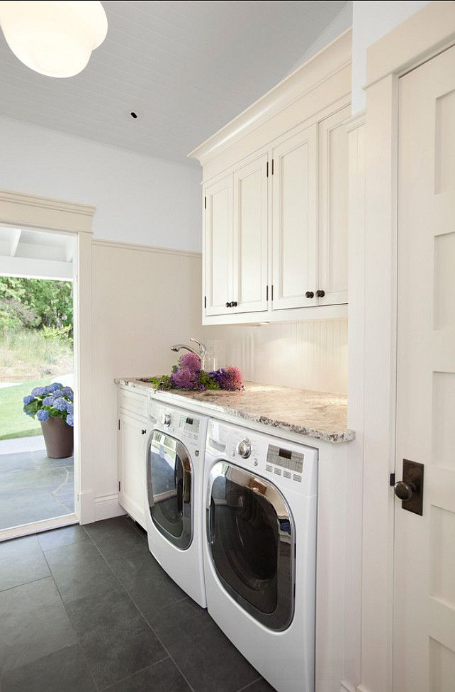 Laundry Room Design. Great Laundry Room. #LaundryRoom #HomeDecor Cabinet Paint Color: Off White #1873 by Behr
