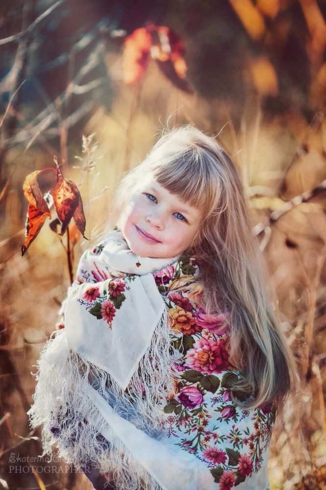 Little Russian girl wearing a traditional shawl. #kids