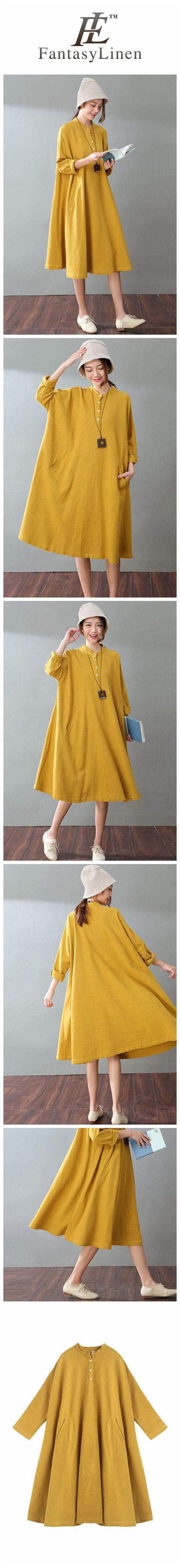 Spring Yellow Casual Cotton Linen Dresses Long Sleeve Shirt Dress Women Clothes  Q1701Yellow