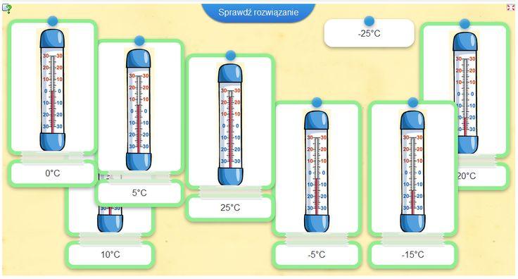 Quiz: Odczytaj wskazania termometrów i dopasuj odpowiednie wartości.