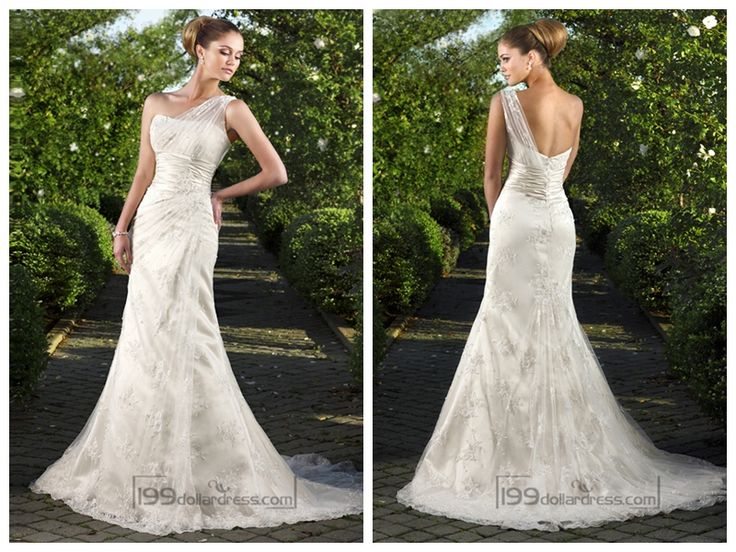One-shoulder Floral Embroidered Sheath Wedding Dreses