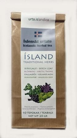 Mixture of traditional Icelandic herbs.  Birkilauf - Birch leaves (Betula pubescens) Blóðberg - Arctic Thyme (Thymus praecox) Fjallagrös - Iceland Moss (Cetraria islandica) Hvannafræ - Angelica Seed (Angelica archangelica)