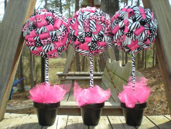 Pink Zebra Centerpiece Ideas : Ribbon topiary in zebra leopard hot pink black