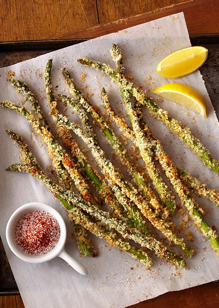 Baked Asparagus Fries - asparagus baked in crispy Panko bread crumbs and Parmesan are a simple and healthier alternative to French fries.