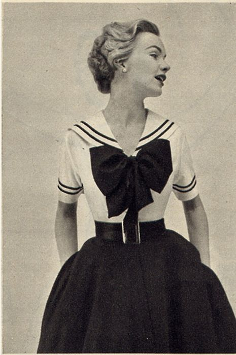 I don't know if I could rock the big bow, but it sure is cute!   Sailor dress, Seventeen Magazine, 1952
