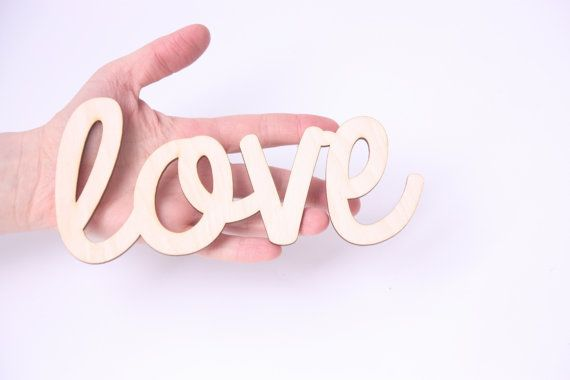 """LOVE wooden sign 7"""" x 3,5"""", wedding decoration, wedding book, Valentine's Day, Mother's Day, unfinished wood, plain wood"""