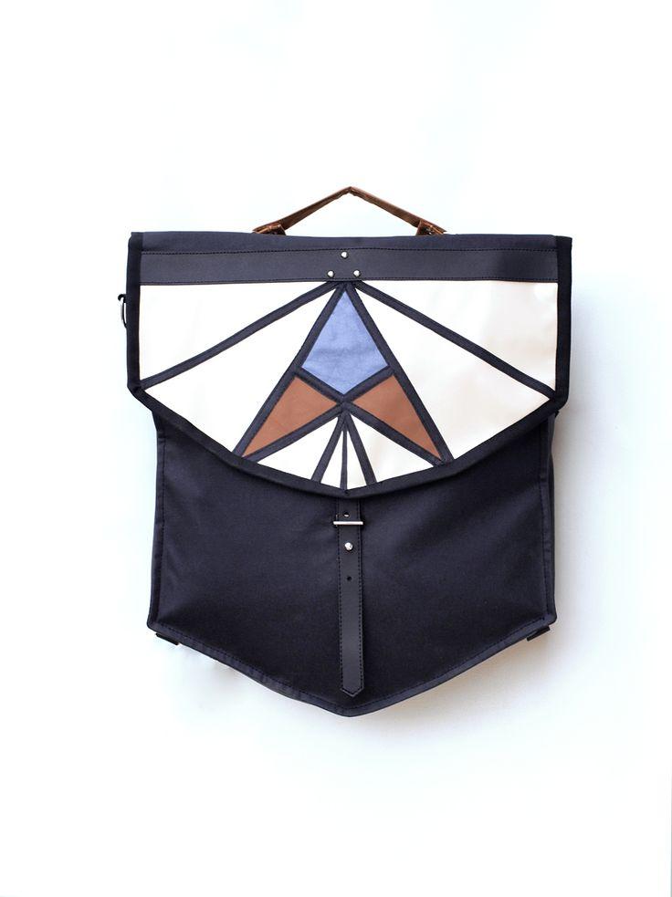 Multifunctional geometrical bicycle bag: pannier bag + crossbody + backpack + shoulder
