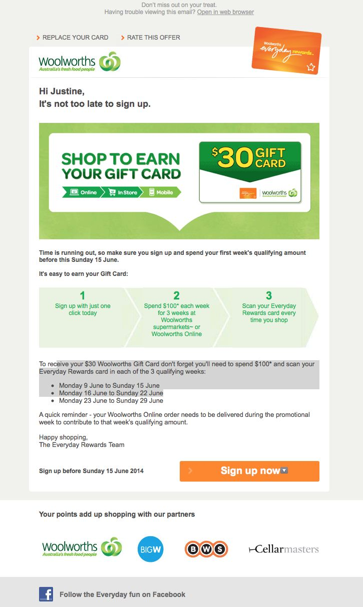 Woolworths - Sign up offer gift card
