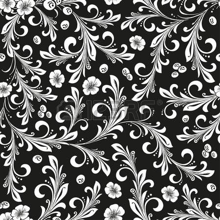 Black and white ornate oriental floral seamless pattern . Russian traditional decoration design.