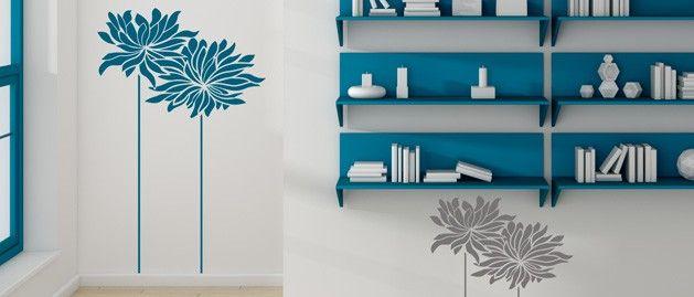 Abstraktní astry (1233) / Samolepky na zeď, stěnu a nábytek