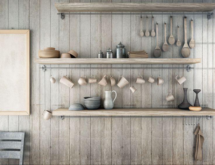 Industrial kitchen shelving.