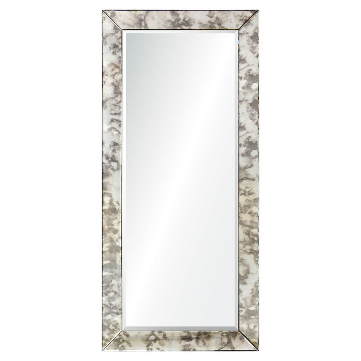 The distinguished, art glass design of this eclectic floor mirror takes its inspiration from the silvered swirls of mercury glass. An antique glass finish to the miter-cut mirror frame offers the authentic feel of a vintage reproduction piece.