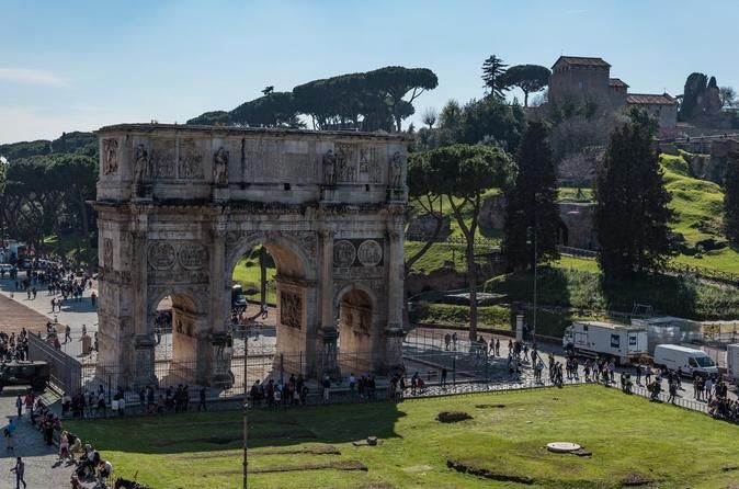 Ancient City Of Rome: The Essential Tour Explore Ancient Rome on this group tour of the Colosseum, Roman Forum and Palatine Hill with an expert guide. Learn about Roman history in the places where the events took place, hearing stories about the bloody gladiatorial fights in the Colosseum. Visiting the magnificent temples and courthouses of the Roman Forum is an opportunity to learn about the daily lives of the Romans. You'll also explore the evocative ruins of the imperial pa...