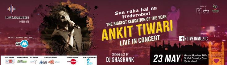 Sun raha hai na Hyderabad ..  Block the date.. The Biggest Sensation of the Year Ankit Tiwari Live in Concert On 23rd May Book Tickets : http://www.meraevents.com/event/ankit-tiwari-live-in-concert&Ucode=DMSY #AnkitTiwari #Hyderabad #MeraEvents #LiveConcert