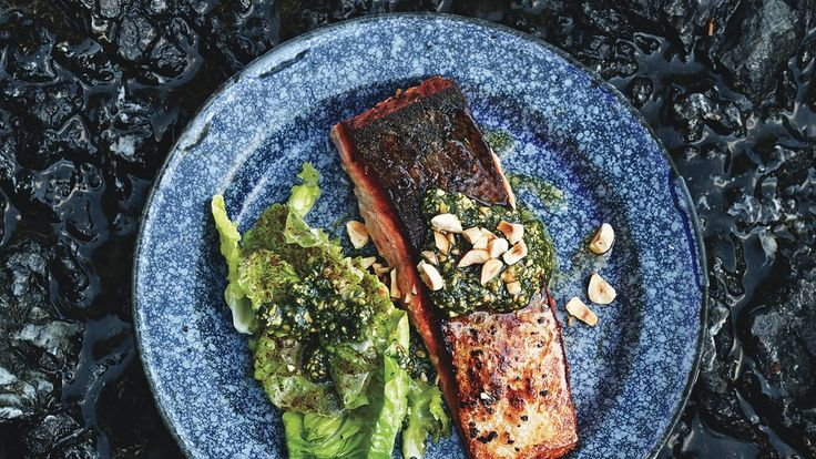 Cooking the salmon skin side down maximizes its crispy potential; brown butter carries nutty flavor into the flesh.