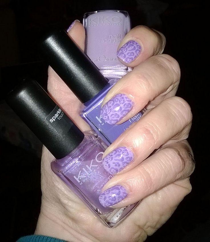 Nail art stamping Pueen n° 09 Smalti Kiko n° 261 - 330 - 332
