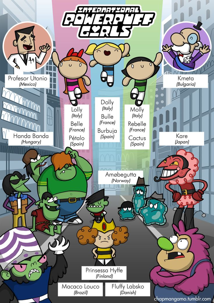 Lolly, Dolly and Molly! The first in a series of limited-edition prints I'm doing about character names. They'll be available at Thought Bubble next weekend, then in the shop afterwards.  And to continue the translated titles, here are the Powerpuff Girls in other languages  Les Supers Nanas (France) - The Super Gals Pindúr Pandúrok (Hungary) - Tiny Policemen Atomówki (Poland) - The Atomic Girls