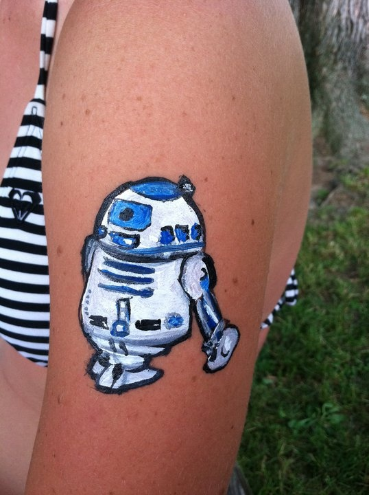 R2D2 face painting I did on a friends arm.
