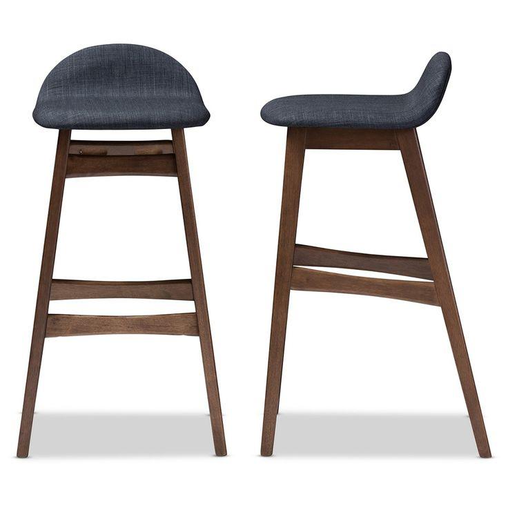Bloom Mid Century Retro Modern Scandinavian Style Blue Fabric Upholstered Wood Finishing Inches Bar