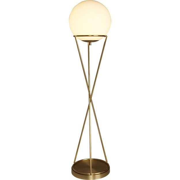 Brass Floor Lamp With White Globe Shade