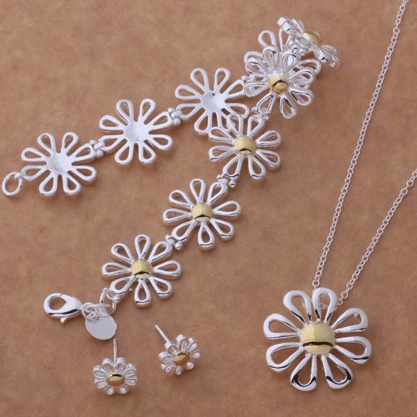 AS124 Trendy wholesale silver Jewelry Sets Bracelet 110 + Necklace 302 + Earring 219 /ahuaizba birajzya #Affiliate