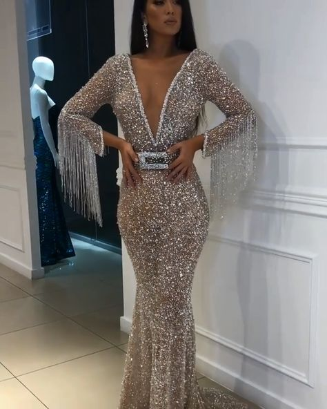 f6d5bfef Sexy Deep V-Neck Floor-Length Sequins Evening Gown | Mermaid Crystals  Tassels Prom