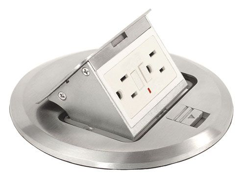 29 best images about hiding electric outlet kitchen for Floor receptacle