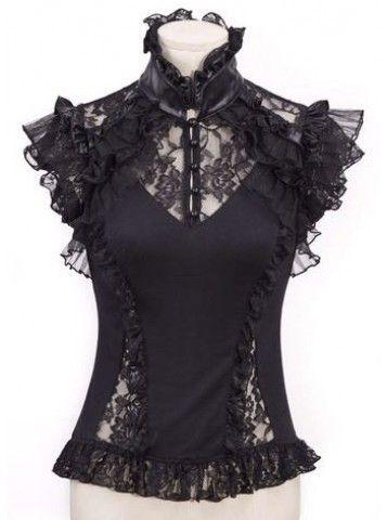Lace Frill Top [Black] <3  www.beserk.com.au