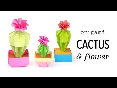 Origami Cactus & Flower Tutorial - Paper Kawaii