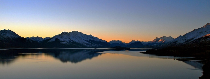 Lake Wakatipu at sunset as seen from Bennet's Bluff - New Zealand, South Island - aka Middle Earth - [4016x1512] - [OC]