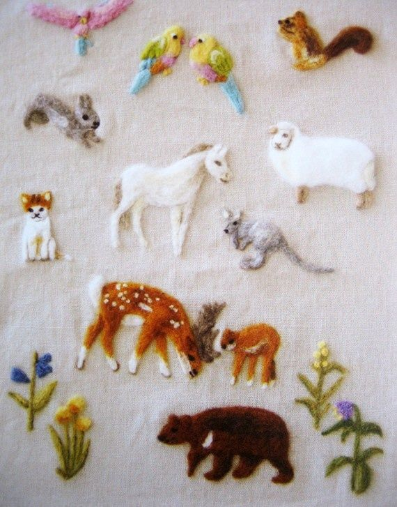 ♒ Enchanting Embroidery ♒ japanese wool felt animal set embroidery pattern by feltcafe on Etsy