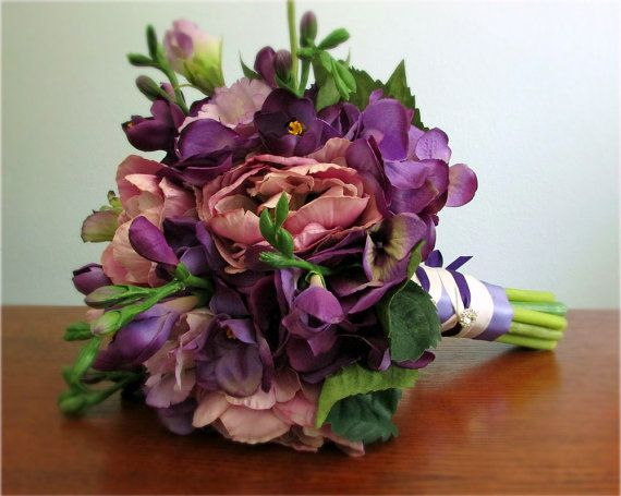 Adoration Bouquet and Boutonniere - Purple and Lavender Silk Flower Wedding Bouquet with Tulips, Hydrangea, Lisianthus, Freesia, Bridal / Bridesmaid Bouquet