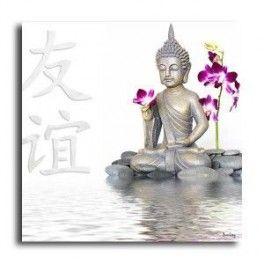 Tableau Bouddha Fond Blanc 50 x 50 cm. Imprimé en haute définition sur toile canvas 100% coton. Chassis à clé en sapin. Fabrication Française. Livraison : 7 jours.