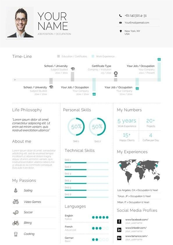 Clean Infographic Resume Template The Help