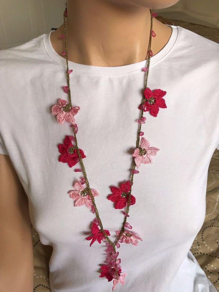 pink necklace, crochet lace necklace, turkish oya, handmade choker, textile art. #Handmade #Lariat