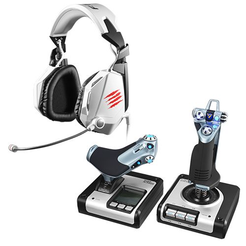 Saitek® X52 Flight Control System and Mad Catz® F.R.E.Q.™ 5 Stereo Gaming Headset Bundle - White