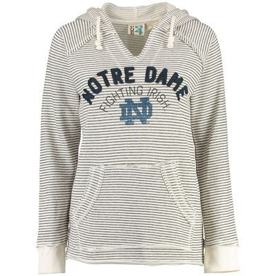 Notre Dame Fighting Irish Blue 84 Women's PRG Striped French Terry V-Neck Hoodie - Cream